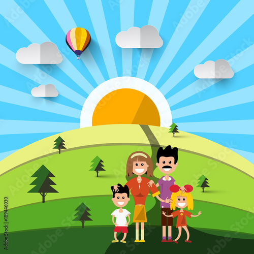 Poster Lime groen Family on Field. Natural Vector Landscape.