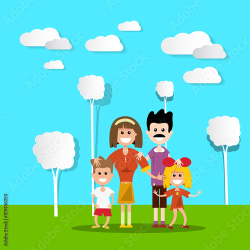 Foto op Plexiglas Turkoois People in Nature. Hapy Family with Paper Cut Flat Design Trees and Clouds. Vector Landscape.