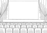 Cinema interior graphic black white sketch illustration vector - 189447897