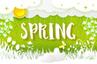 Flowering meadow. Flowers, grass, sun, clouds, butterfly cut out from white paper on a fresh green background with doodle ornament. Paper art. Hello Spring text. Vector illustration. Nature banner