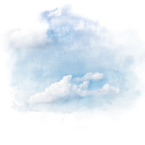 Blue sky with white cloud. Artistic natural abstract background. Watercolor painting (retouch). - 189452265