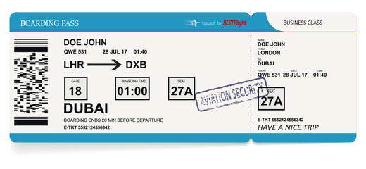 Airline boarding pass tickets to plane for travel journey. Vector illustration