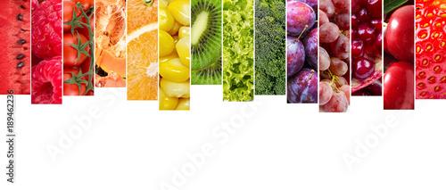Keuken foto achterwand Verse groenten Çeşitli meyve ve sebzelerden oluşan kolaj
