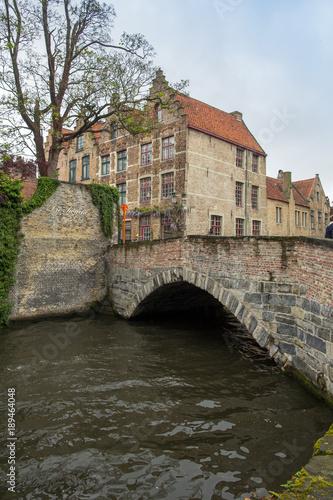 Fotobehang Brugge Canal at the medieval city of Brugge Belgium.