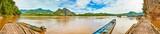 Fototapeta Bambus - Touristic boats. Beautiful landscape panorama, Laos. © Olga Khoroshunova