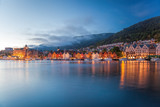 Bergen street at night with boats in Norway - 189475043