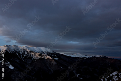 Keuken foto achterwand Nachtblauw Tracking route from Rozino village to hut Eho, Stara planina (Balkan mountain), Bulgaria - Yumryk and Vezhen peak