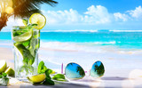 art summer tropical beach wine bar; mojito cocktail drink - 189475853