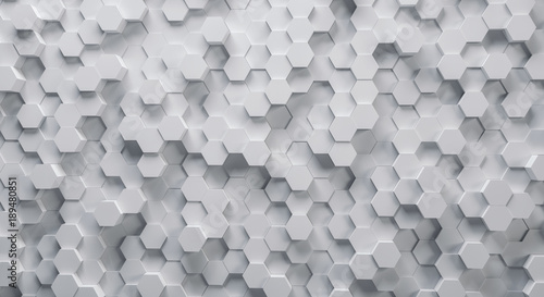 Technical 3D white hexagonal background structure