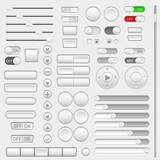 Set of interface navigation buttons, sliders, media buttons - 189483216