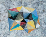 A Painting of a Crystalline Shape, Grungy Grey Background. - 189484477