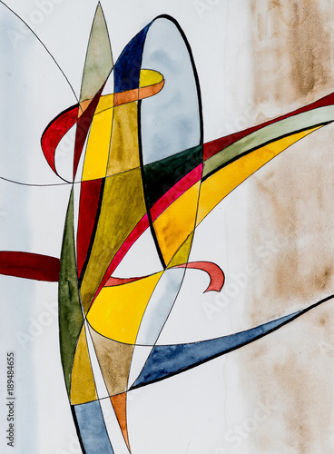 An Abstract Watercolor and Ink Composition. - 189484655