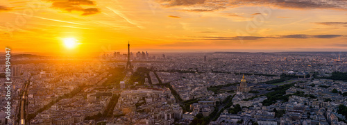 Skyline of Paris with Eiffel Tower in Paris, France. Panoramic sunset view of Paris - 189494047