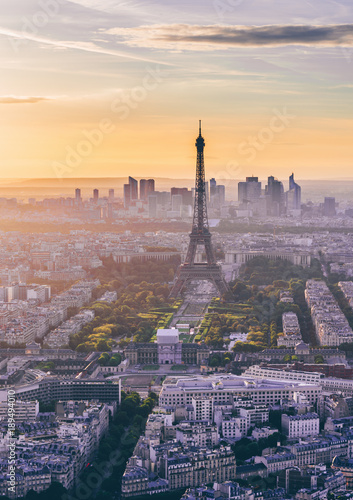 Skyline of Paris with Eiffel Tower at sunset in Paris, France Poster