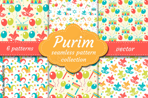 Carnival seamless pattern set. Collection Purim background. Holiday, masquerade, festival, birthday party. Endless backdrop, repetitive texture, wallpaper paper Vector illustration © Amelie
