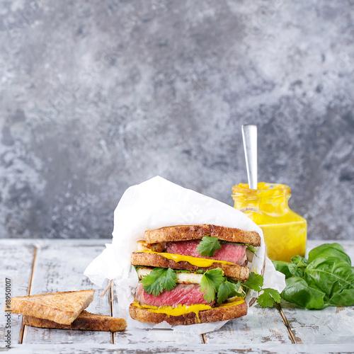 Foto op Aluminium Steakhouse Club sandwich with steak