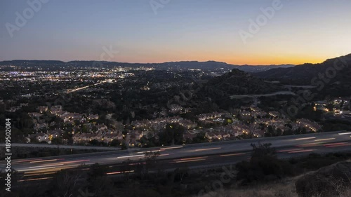 Staande foto Stockholm Dusk to night time lapse view of the 118 freeway near Topanga Canyon Bl in the San Fernando Valley area of Los Angeles, California.