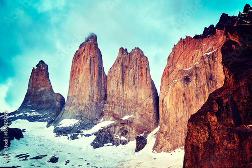 Retro toned close up picture of the Torres del Paine rock formation, Patagonia, Chile.