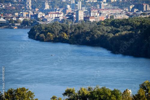 Foto op Canvas Blauwe jeans View Across Zemun To Belgrade