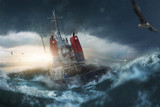 Schiff fährt durch Sturm - 189509694