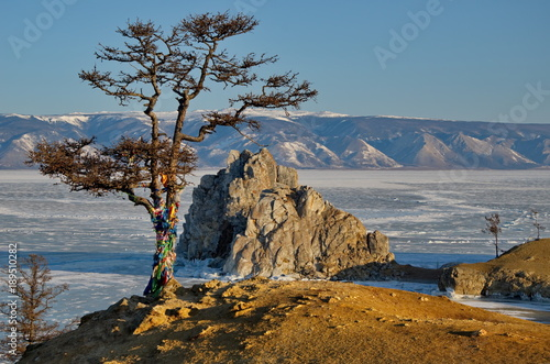 Tuinposter Blauwe jeans Russia. Rocky coast of the Olkhon island of lake Baikal