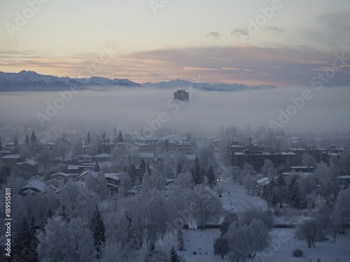 Foto op Plexiglas Grijs Sunrise and Fog in Anchorage, Alaska