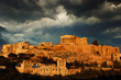 Acropolis with cloudy sky as background, Athens, Greece.