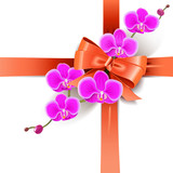 Vector Decorative Bow with Orchids