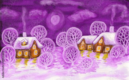 Fotobehang Purper Winter landscape in violet colours, painting