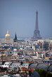 The Paris skyline showing the Eiffel Tower, Napoleons Tomb and various rooftops