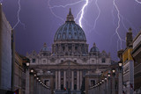 lightning over St. Peter's Square in Rome