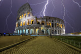 lightning over the colosseum in Rome