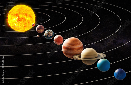 Parade of planets, appulse concept. 3D rendering