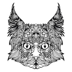 Vector Indian ornament of cat with big ears. Black and white version. Illustration isolated on white background.
