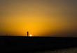 Fisherman at sunset in Alimos marina in Athens, Greece