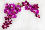 Fototapety violet purple orchid flowers decorated on wood can be used as background with free space for your text