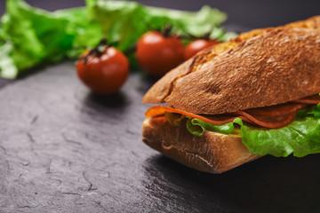 deli sandwich close up