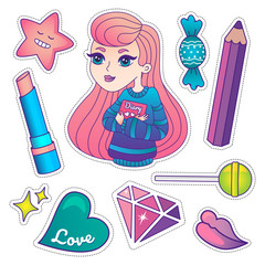 Cute trendy scool badges, stickers and patches, colorful girl with diary, pencil, lipstick, lips, diamond and candyes
