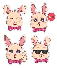 Vector stickers with cute little funny bunny emotions. Cute badges and stickers for children
