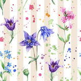 Seamless floral pattern with wild flowers, Columbine flowers on the striped background. Watercolor painting, colorful splashes - 189551412