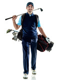one caucasian man golfer golfing in studio isolated on white background - 189552087