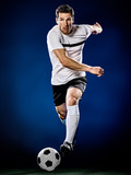 one caucasian soccer player man isolated on black background - 189552610