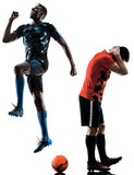 two soccer players men in studio silhouette isolated on white background - 189552670