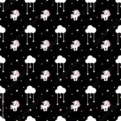 Cotton fabric Cute unicorn with cloud and star seamless pattern on black background.