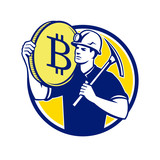 Cryptocurrency Miner Bitcoin Circle Retro - 189560890