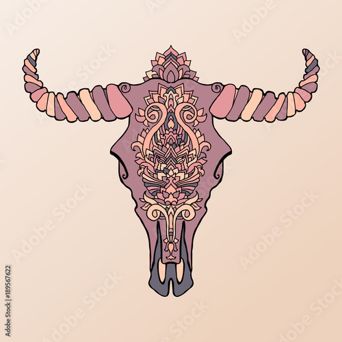 Fototapeta Flizelinowa Mandala Tatuaż Martwa Krowa Głowy