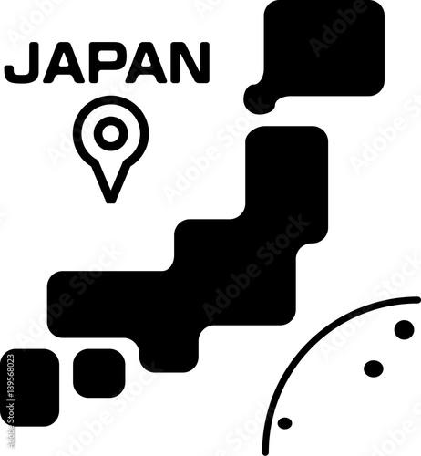 日本列島のシンプルなイラスト
