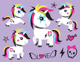 Vector illustration of cute punk unicorn rocker with skull tattoo and colorful hair. - 189574485