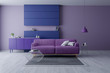 Modern and minamalist interior of living room ,Ultraviolet home decor concept, purple armchair on purple wall and white floor ,3d render