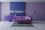 Modern and minamalist interior of living room ,Ultraviolet home decor concept, purple armchair on purple wall and white floor ,3d render - 189578468